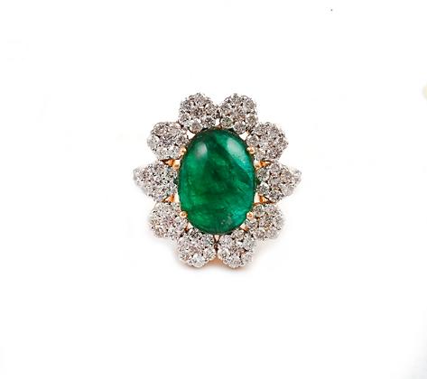 Emerald Diamond Cluster Designer Ring
