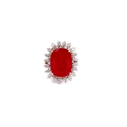 Natural Ruby Diamond 18Kt Gold Cluster Ring
