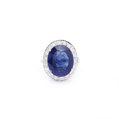 Massive Blue Sapphire Diamonds Ring
