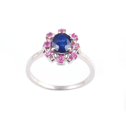 Elegant Blue Sapphire and Pink Sapphire Ring