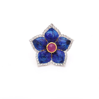 Beautiful Enameled Blue Flower Ruby Diamonds Ring