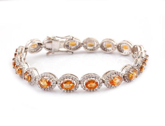 Natural Citrine American Diamond Cluster Bracelet