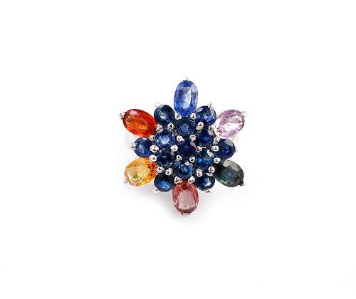 Multi Sapphire Flower Ring