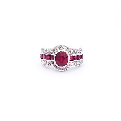Elegant Rubies Diamonds Ring