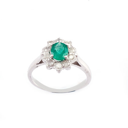 Emerald Diamonds Cluster Ring