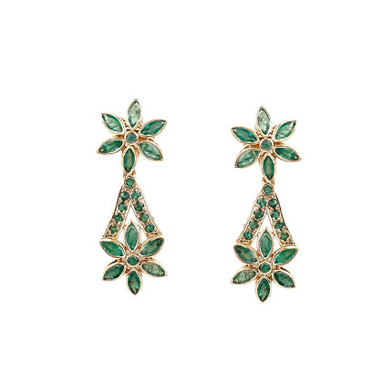 Emerald Flowers Earrings