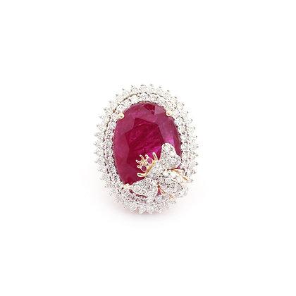 Beautiful Natural Ruby Diamonds Ring