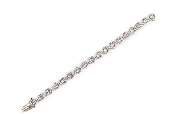 Natural Aquamarine American Diamond Cluster Bracelet