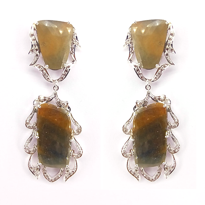 Natural Multi Sapphire with Diamonds Earrings