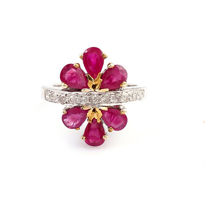 Ruby Diamond Flower Design Ring