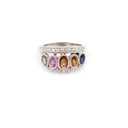 Multi Sapphire Diamonds Ring