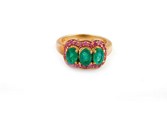 Emerald Pink Sapphire Designer Ring