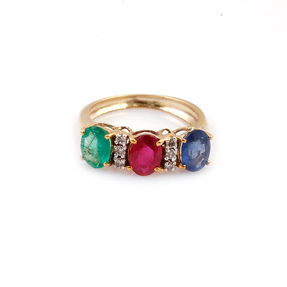Ruby Sapphire Emerald Diamonds Ring