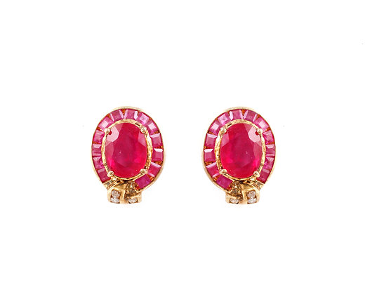 Natural Ruby Diamonds Studs