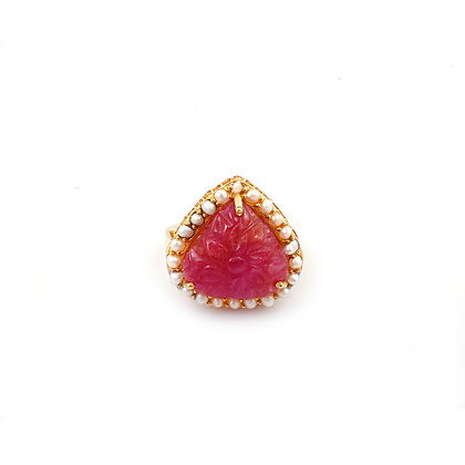 Carved Ruby Ring Pearl Cluster Ring