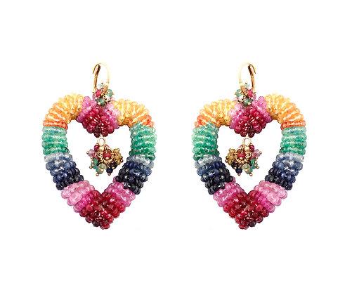 Ruby Emerald Sapphire Beads Earrings