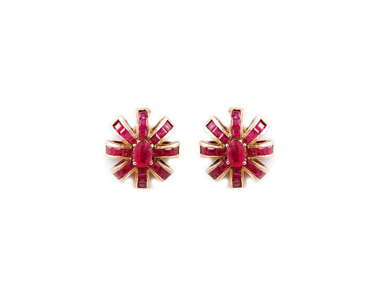 Natural Ruby Stud Designer Earrings