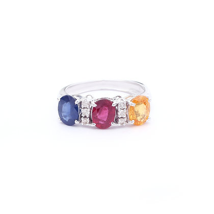Multi Sapphires Diamonds Ring