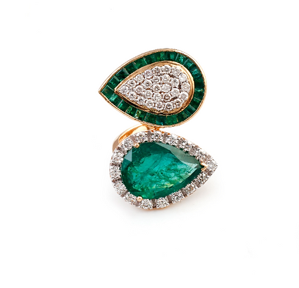 Emerald Diamond Beautiful Designer Ring