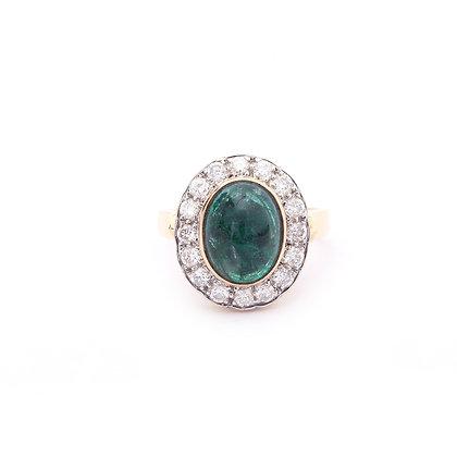 Important Emerald Cabochon Diamonds Ring