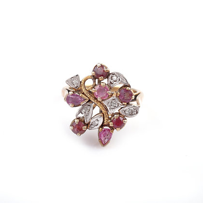 Ruby Diamond Flower Ring