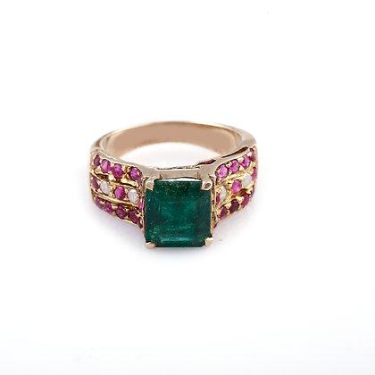 Emerald Ruby Diamond Ring