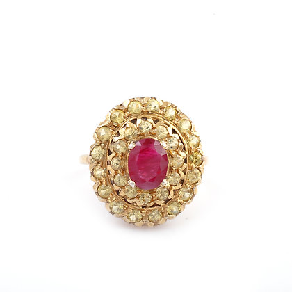 Ruby Yellow Sapphire Cluster Ring