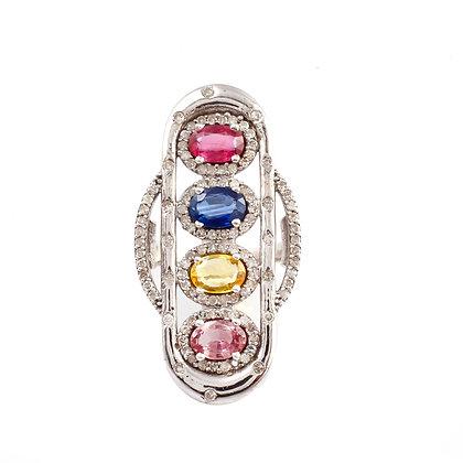 Multi Sapphire Diamond Ring