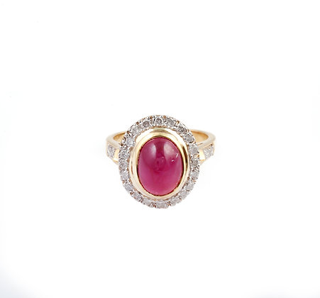 Ruby Diamond Cluster Luxury Ring