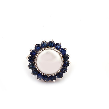 Pearl Blue Sapphire Diamonds Cluster Ring