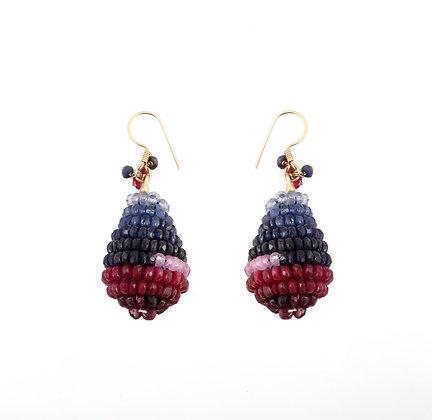 Ruby Sapphire Beads Earrings