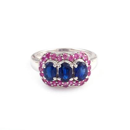 Blue Sapphire Ruby Designer Ring