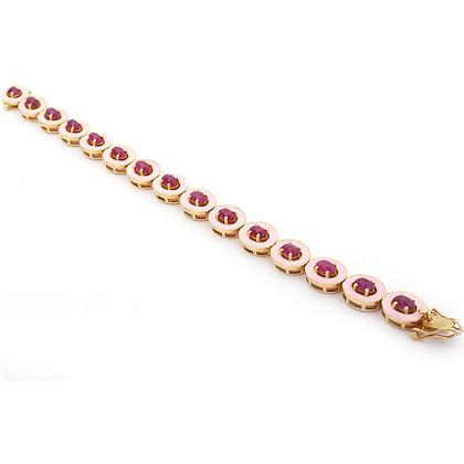 Enamel Ruby Cabochon Bracelet