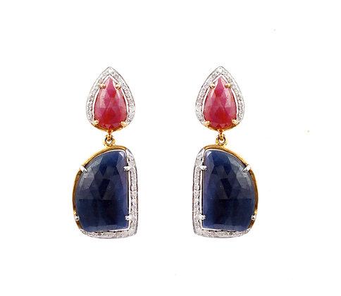 Blue Sapphire Ruby Diamonds Earrings