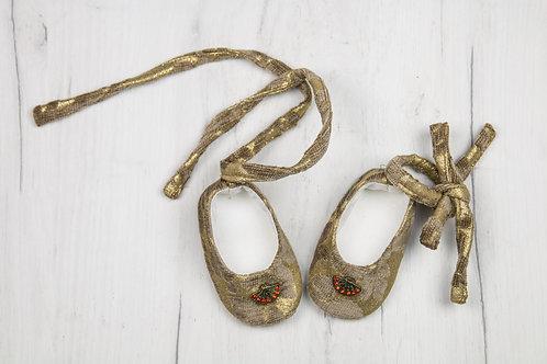 Papucei botez Antic Gold