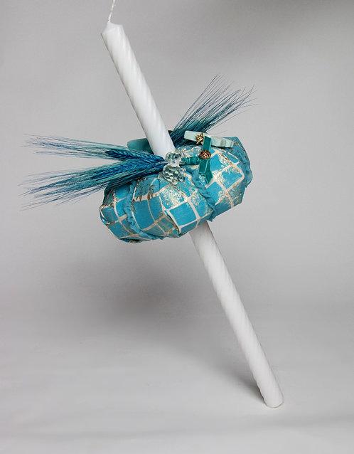 Lumanare de botez handmade cu camee si spice Blue Royal