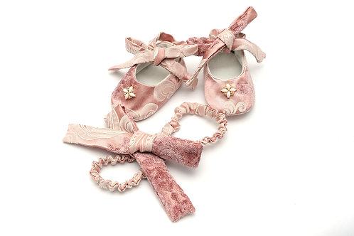 Papucel botez Vintage Pink