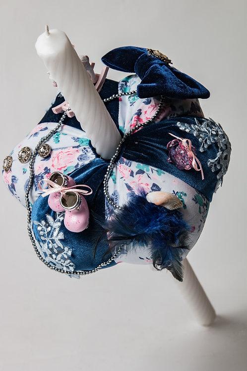 Lumanare de botez handmade din catifea si bumbac canvas Blue Bonnie