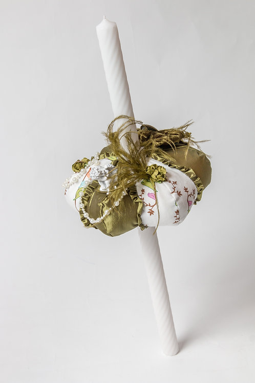 Lumanare de botez handmade cu ingeras si perle Primavera