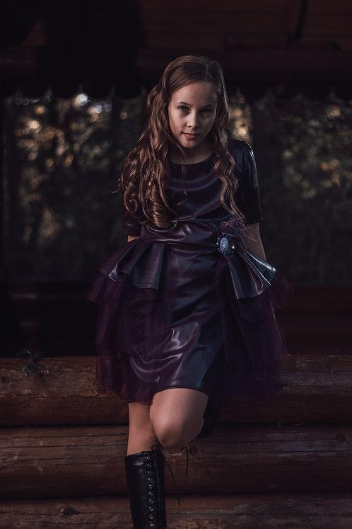 Rochie fete, din piele ecologica cu volane, Rock Purple