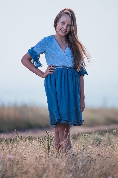 Rochie fetite din voal fin si jersey delicat Blue Sorbet