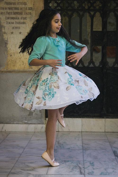 Rochita pentru fetite din catifea si voal imprimat Tenderness in Blue