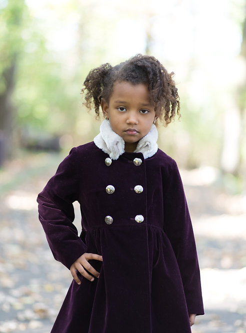 Mantou fetite din catifea cu blanita Purple Velvet