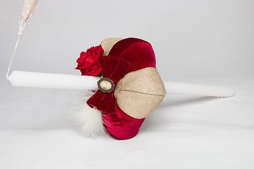 Lumanare de botez handmade  cu catifea si trandafiri Velvet in Love