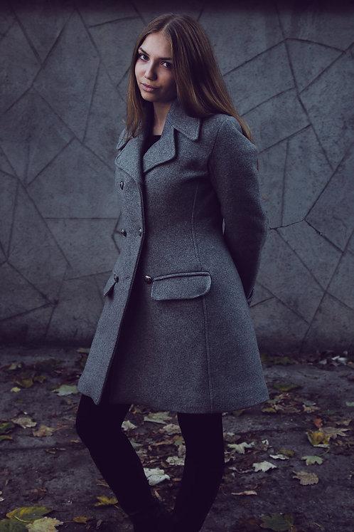 Palton fete din stofa gri