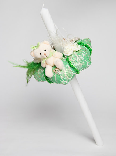 Lumanare de botez handmade cu ursulet Belle Vert