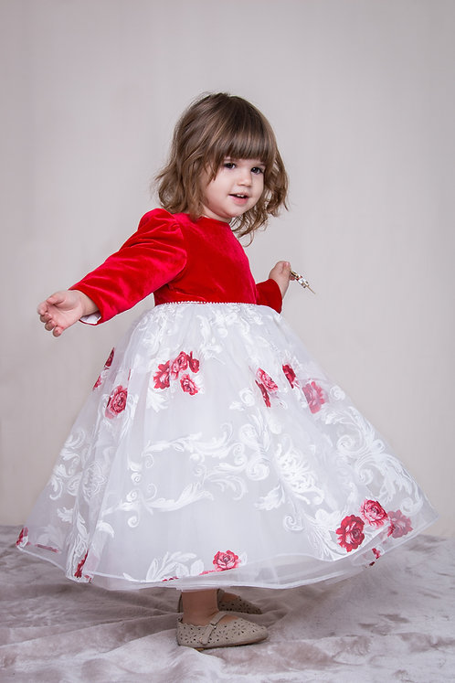 rochita din catifea rosie