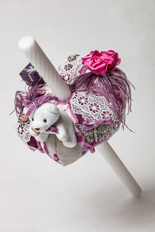 Lumanare de botez handmade cu ursulet si fulgarin Rose Sorbet