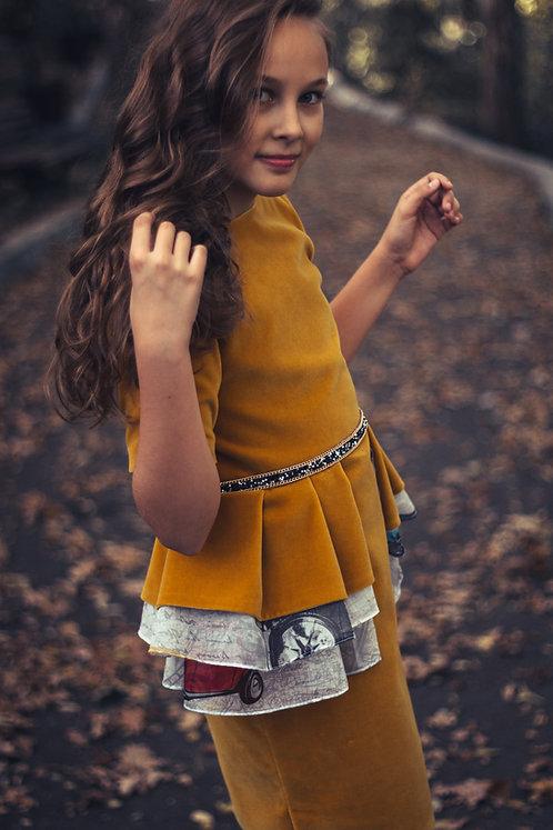 Rochie fete, din catifea, cu volane, Falling in Autumn