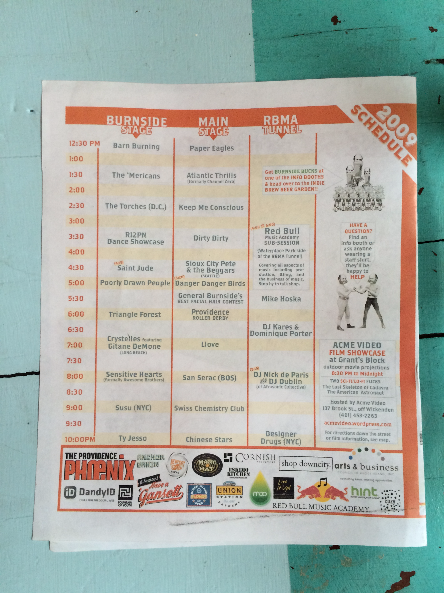 back page and schedule